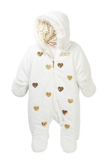 Image of Juicy Couture Sequin & Glitter Heart Faux Fur Trim Velour Jumpsuit (Baby Girls)
