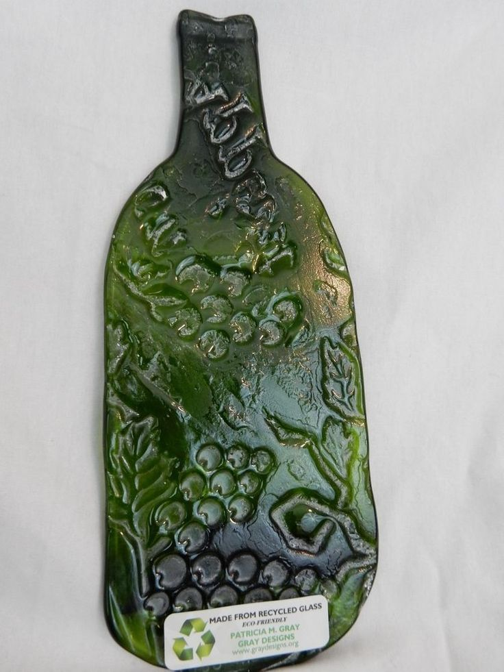 NWT Wholesale Flat Slump Wine Bottle GREEN HARVEST GRAPES Cheese Tray Spoon Rest