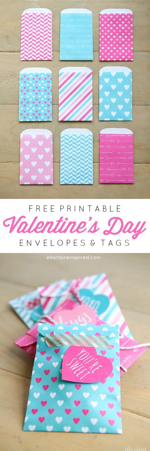 Free Printable teal and hot pink Valentine's Day envelopes and tags- to hold candy or cards from Ella Claire.