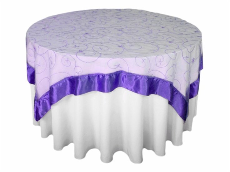 72 Square Embroidered Overlay Purple Over White Table Cloth