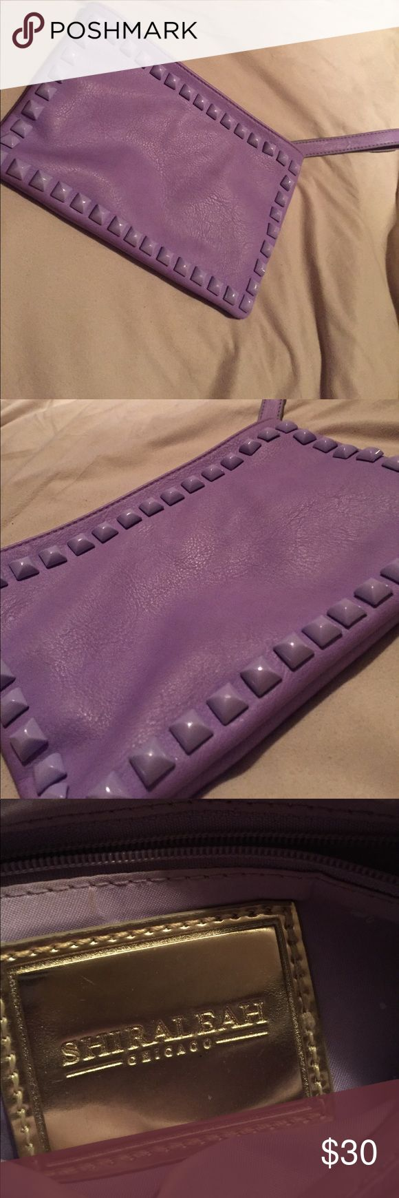 Shiraleah Vegan Leather Purple Clutch 💜 Vegan leather purple studded clutch! Used once, excellent condition! Zipped inside pocket and two small inside pockets! Perfect for a night out 💟 shiraleah chicago Bags Clutches & Wristlets