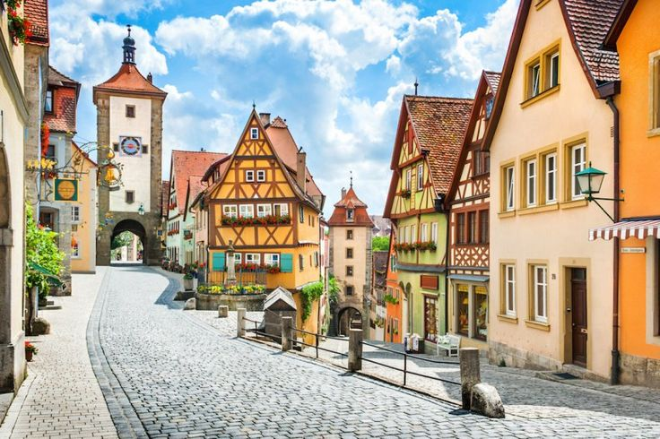 In Germany, venture to the small town of Rothenburg ob der Tauber between Munich and Frankfurt for cobbled streets lined with medieval architecture.
