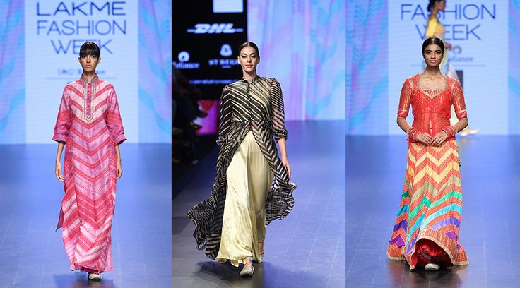 【Lakmé Fashion Week:Anupama Bose】 Beautifully rich and colourful lehengas and sarees graced the runway with Anupama Bose's collection. Saris, jackets, blouses and kurtas all displaying some amazing leheriya work, we had a total jaw-drop moment!