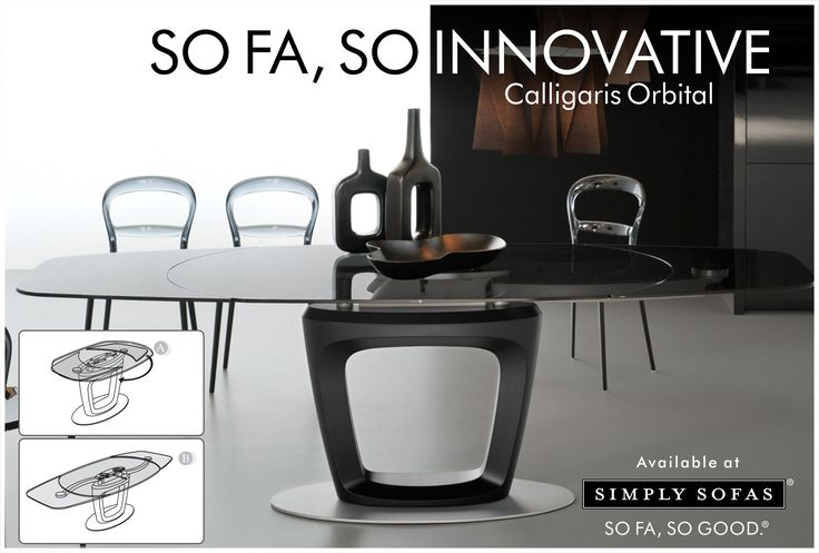 Calligaris Orbital extendable dining table. The two extension leaves slide out from underneath the glass top and simultaneously position themselves at the same level, maintaining the table's elliptical shape. A technology that transforms a four seater table to accommodate more than 8 people. Designed by Pininfarina. #Diningtable #SoFaSoInnovative #Calligaris #Furniture #Decor #Interiors