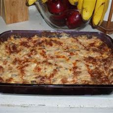 No egg breakfast casserole:  1 lb sausage (bulk breakfast) 2 tbsps all purpose flour 11/2 cups milk (nonfat) 1 lb potatoes (frozen shredded hash brown) 4 green onions (f...