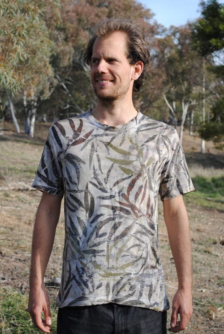 Eco print, eco-dyed top with eucalyptus leaves and iron mordant on cotton. By Gumnut Magic.