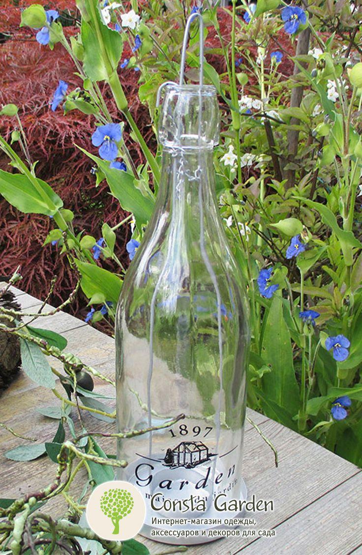 """Подсвечник подвесной """"Бутылка"""" Esschert Design.Необычный подвесной подсвечник из прозрачного стекла в форме бутылки на цепочке – оригинальное украшение для Вашего дома, сада, беседки, террасы."""