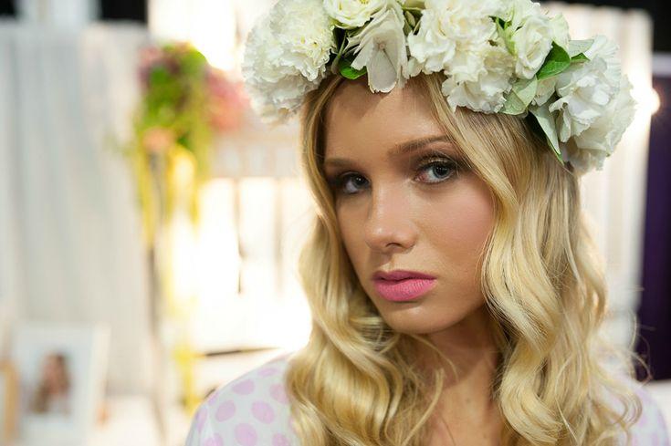 Blonde boho bride | Pretty youthful bridal makeup | White flower crown | Sally Townsend Makeup Artistry
