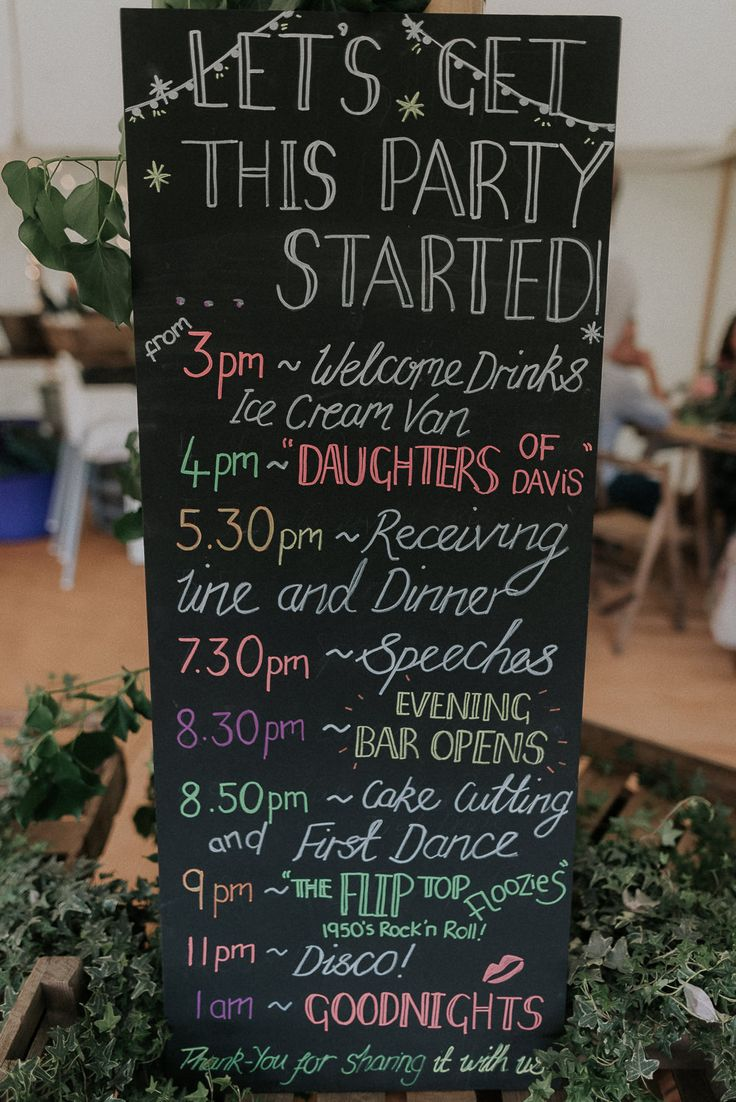 Blackboard Order of the Day Sign - Scuffins Photography | DIY Country Marquee Wedding in the New Forrest