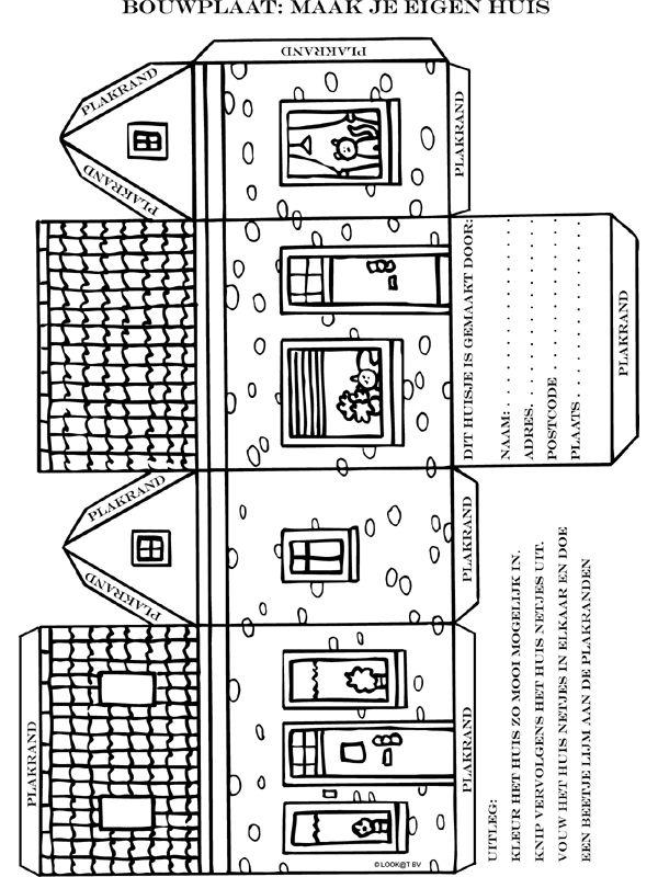 Kleurplaat Bouwplaat: maak je eigen huis - Kleurplaten.nl