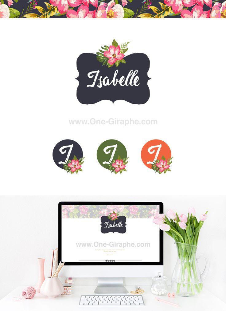 www.One-Giraphe.com #logodesign #graphic #graphicdesign #readymade #logostore #watercolor #watercolorlogo #etsy #pinterest #instagram #behance #dribbble #logopond #affordable #cheap #etsy #seller #logo #feminine #pink #onegiraphe Isabelle - Logo Package for Sale!!
