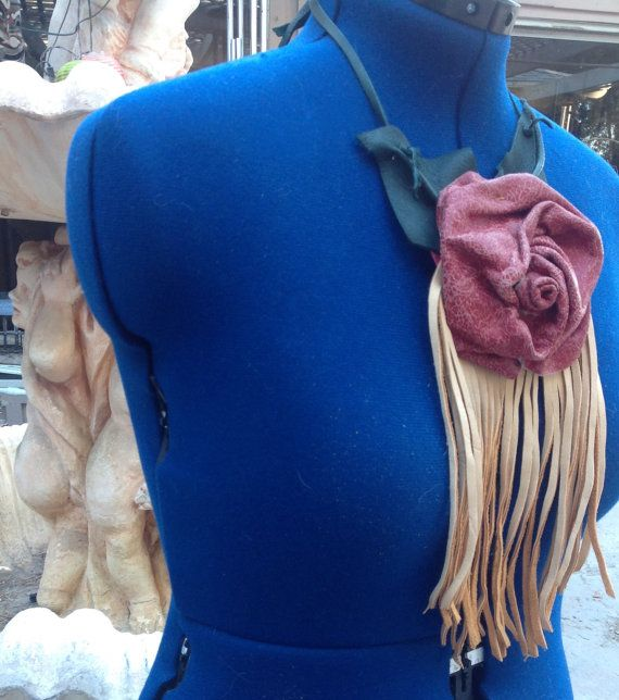showdiva designs Fringed and Sculpted Leather Rose by showdiva