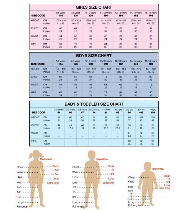 Women S Clothing Clearance Saleprice 10 Size Chart For Kids Charts For Kids Baby Sewing Patterns