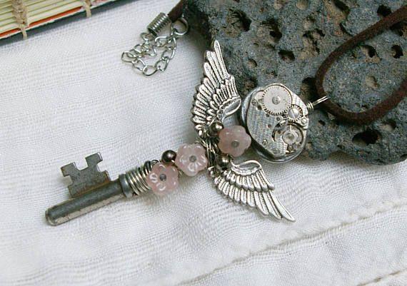 Flying Skeleton Key Upcycled Steampunk Jewelry Boho Antique