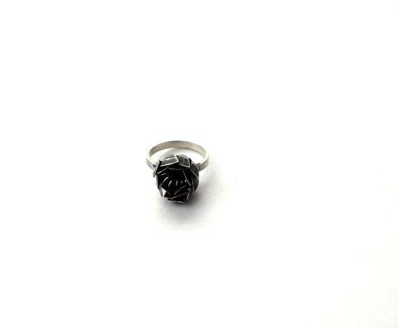 Black Chamomile ring, coin, brass, silvering, oxiged, 2014