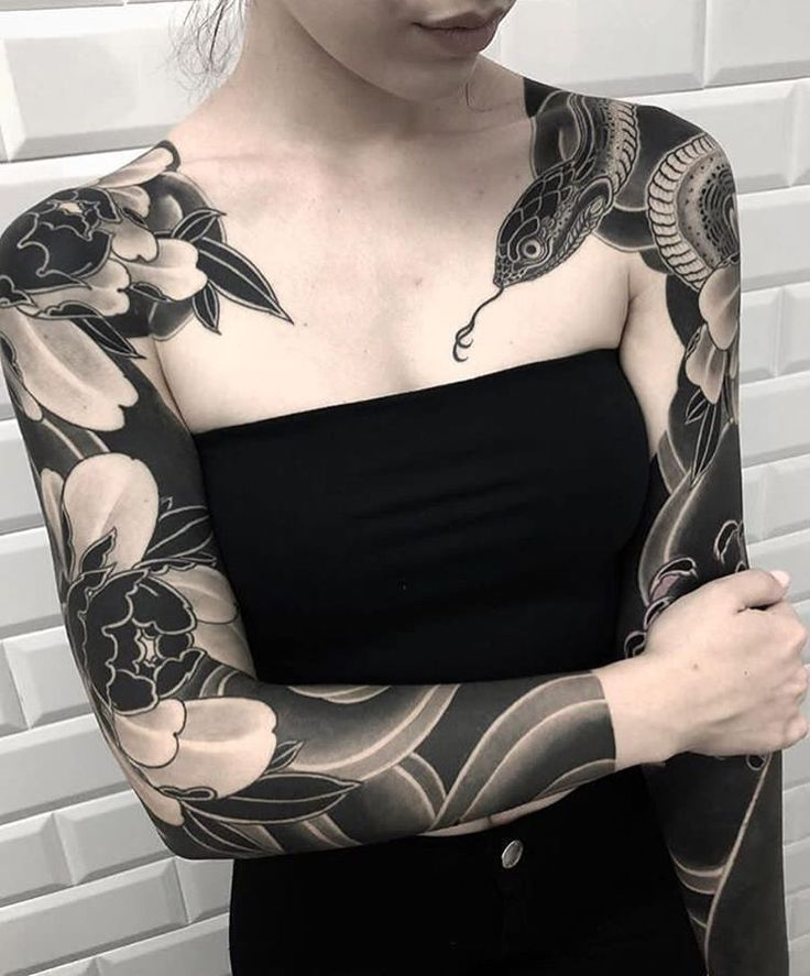 Blackwork Sleeves Sleeve Tattoos For Women Japanese Sleeve Tattoos Black Tattoos