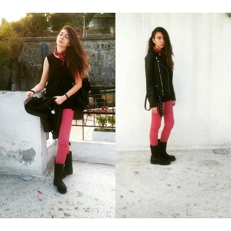 Biker girl fw 2015  Leather @berska leggings @berska @backpack@berska boots @replay top @hm