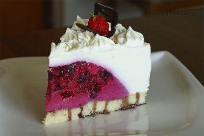 Nepečený ostružinový dort s jogurtem