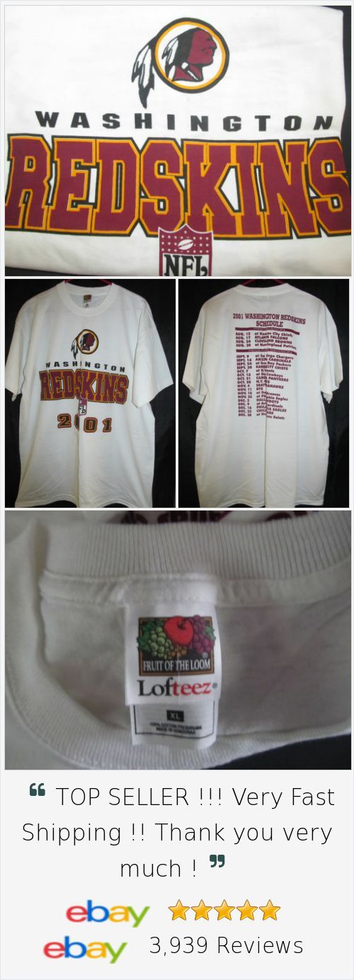 Washington Redskins 2001 Season Schedule T Shirt Size XL Souvenir NFL Gear