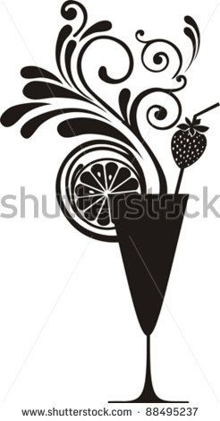 Silhouette cocktail with splash and lime isolated on white background. Drink Menu or Invitation for Parties and Showers. Vector illustration...