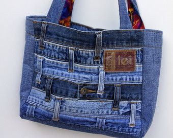 PURSE PATTERN Denim Circle Rag BAG made with by InventiveDenim