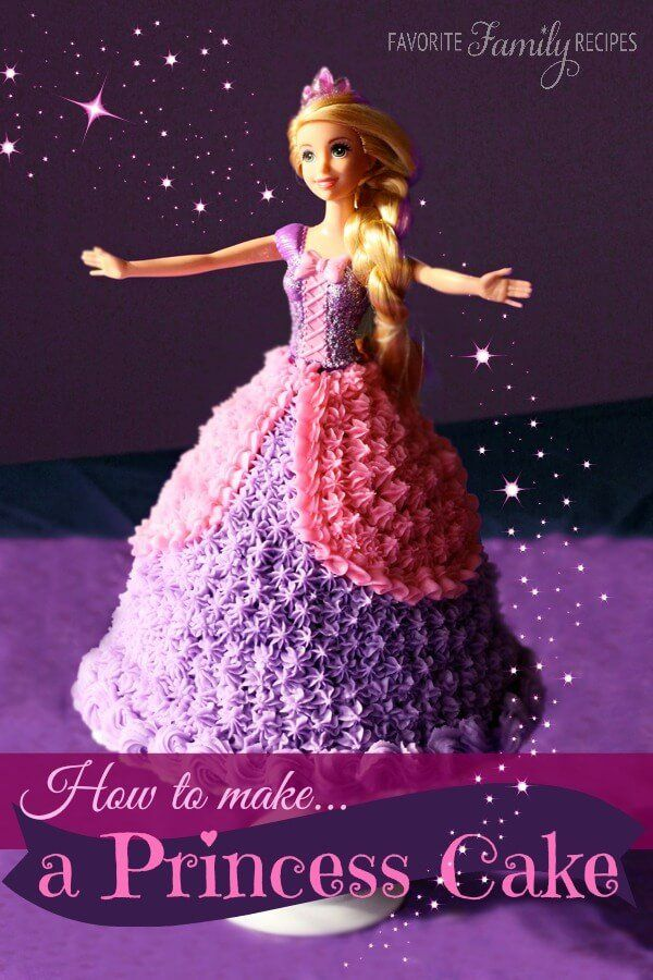 This Princess Birthday Cake or Barbie Birthday Cake is every little girl's dream cake! It is customizable to any Barbie size doll.