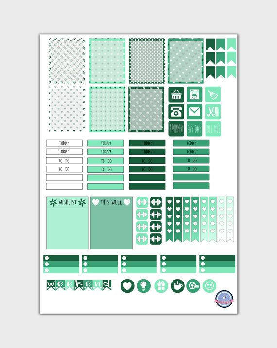❤ ❆Green Winter Themed Printable Stickers for Erin Condren Vertical Life Planner.❆ ❤  This purchase includes 1 JPG file. Includes;  ♥ 8 Today