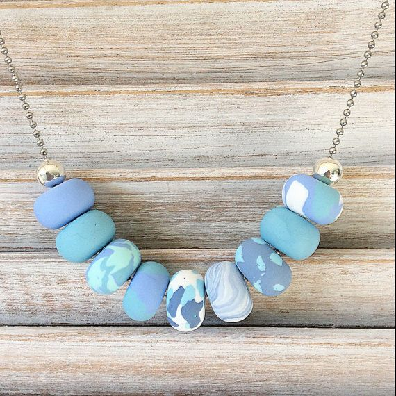 Pastel Blues and mint handmade necklace polymer by Rubybluejewels