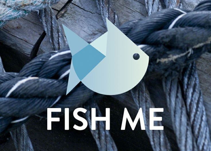 Logo for Fish Me, a fishmonger at the fish market in Bergen, Norway. Design: Hege Jørgensen.