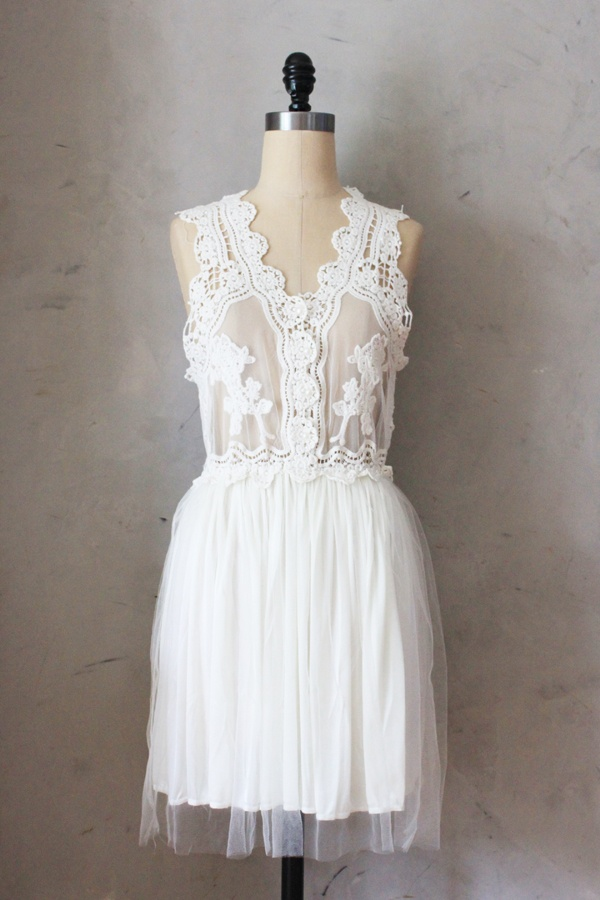 Peony Dress in White $48 embroidered lace dress with full tulle skirt. perfect for bridal showers, receptions, engagement photos