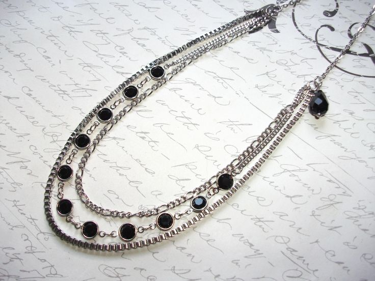 Multi strand black crystal chain and stainless steel necklace de la boutique BijouxdeBrigitte sur Etsy