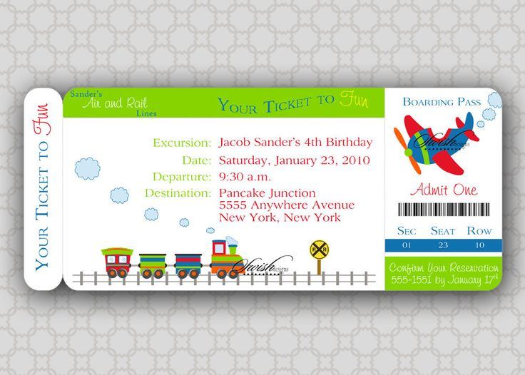 Train Birthday Invitation -  Boarding Pass Birthday Invite  - Airplane, train, transportation - boy - printable invitations -. $15.00, via Etsy.