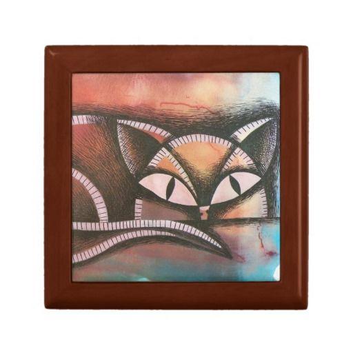 Gato sobre colorido fondo abstracto. Cat. Joyero, Jewelry Box. Producto disponible en tienda Zazzle. Product available in Zazzle store. Regalos, Gifts. #Joyero #Jewelry #box #cat #gato #kitten