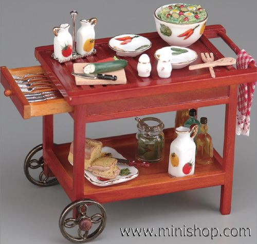 Backyard Barbecue Serving Cart, Miniature Dollhouse