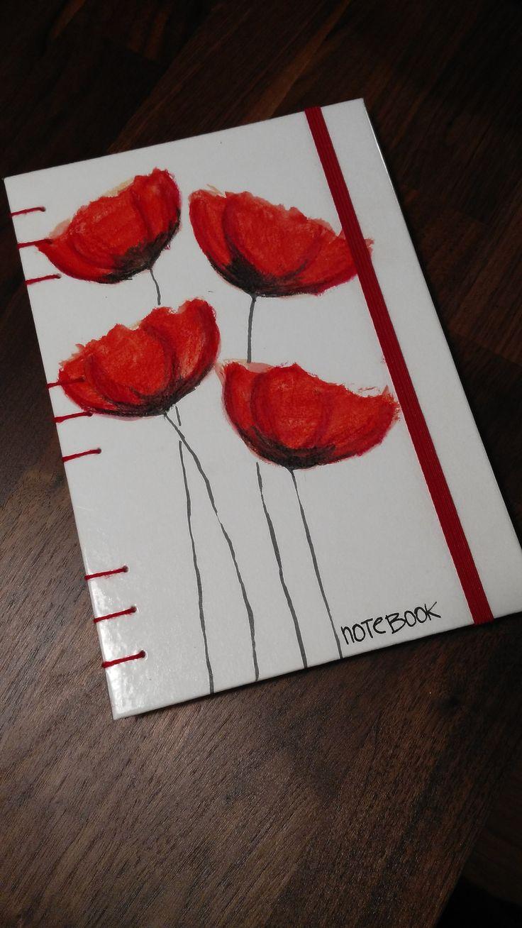 Zápisník,+deník+-+Vlčí+máky+Originální+zápisník+s+60+listy+čistého+pápíru.+Zápisník+je+ručně+malovaný+a+šitý.+Rozměry+15x21cm.