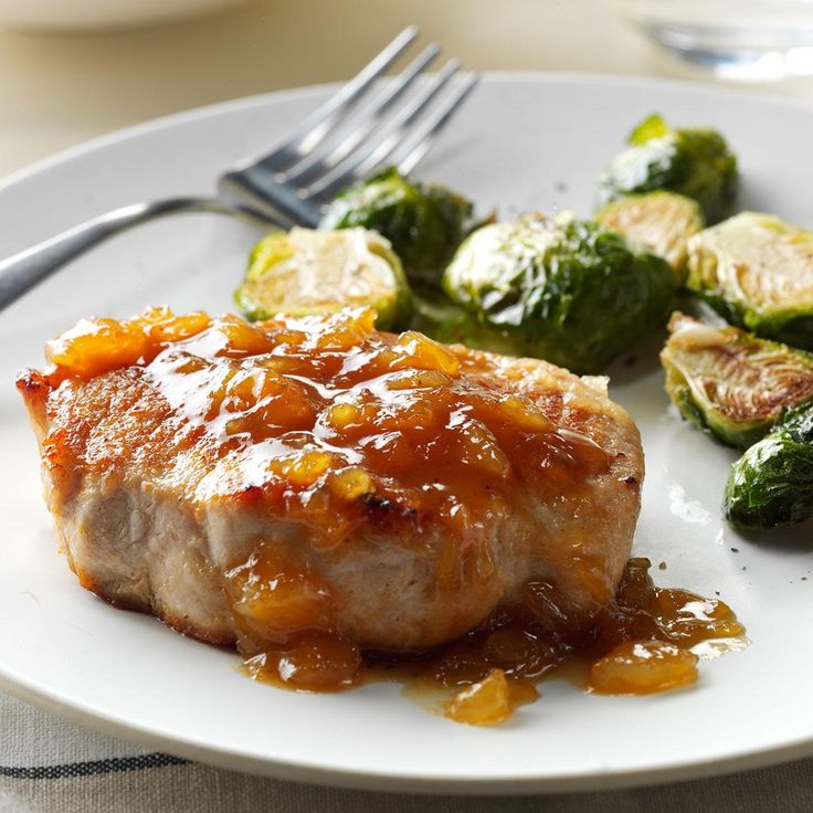 Pineapple-Dijon Pork Chops Recipe -I like to dress up pork chops with pineapple, peach or apricot preserves. Whenever I do, I always serve mashed sweet potatoes on the side. They make a perfect pair. —Jane McMillan, Dania Beach, Florida