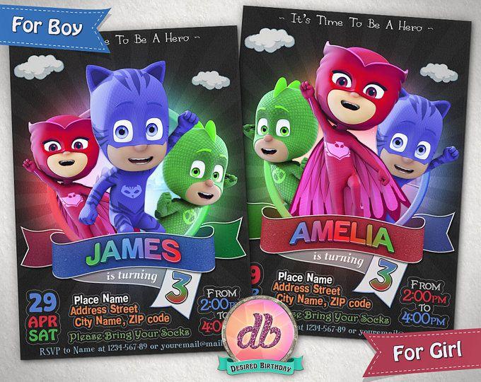 Invito maschere di PJ, Pj maschera festa di compleanno, Super eroe, cartoni animati, è il momento di essere un eroe, personalizzato, Printable, lavagna, digitale File