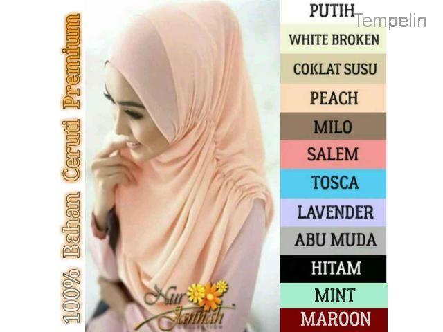 Hijab / Pashmina / Jilbab / Kerudung Instan Nurjanah 100% Ceruti