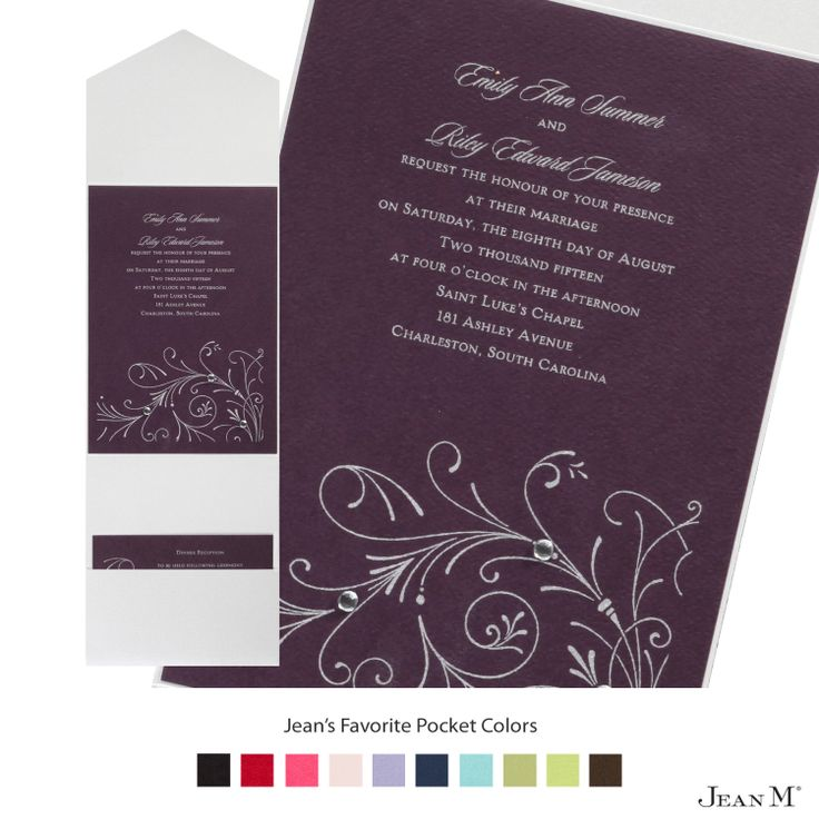 wedding invitations from michaels crafts%0A Eggplant Invitation Card with Pocket  We chose silver ink  clear  rhinestones and a silver