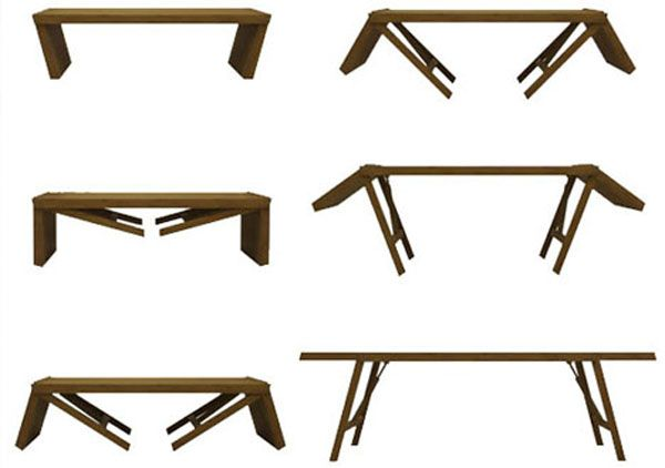 Transformation Folding Table Into A Wooden Bench Jpg 600