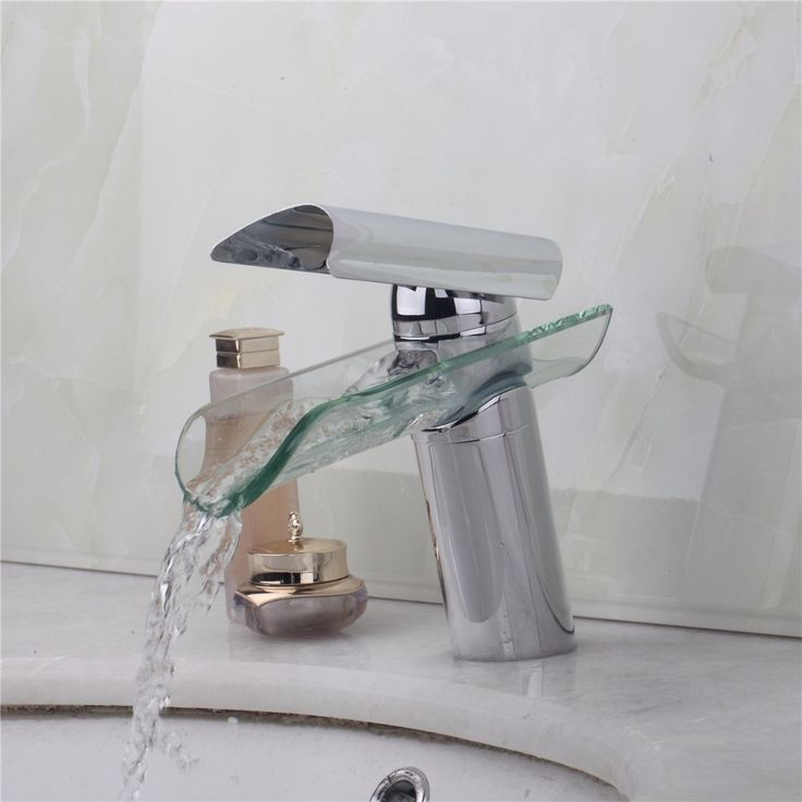 Artist Basin Sink Faucet Waterfall Bathroom Tempered Round Glass Mixer Tap Chrome  Bathroom Faucets