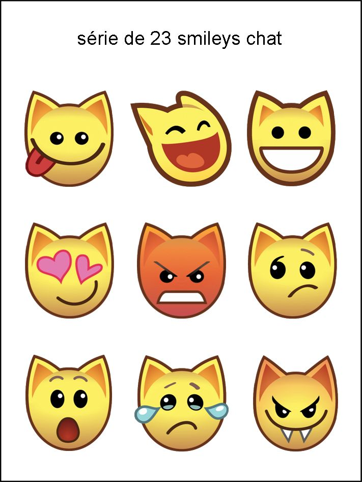 FT - collection de smileys chat - émoticône clipart cartoon - téléchargement gratuit et sans inscription