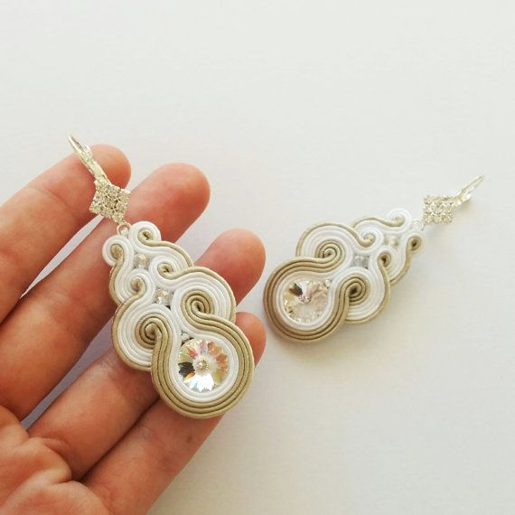 Bridal crystal earrings soutache Swarovski Great Gatsby wedding 20s art deco white ecru beige Bridesmaids gift Engagement gift Maid of honor