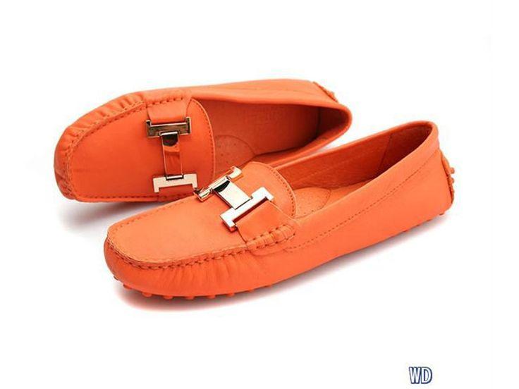 hermes oranje dames platte schoenen
