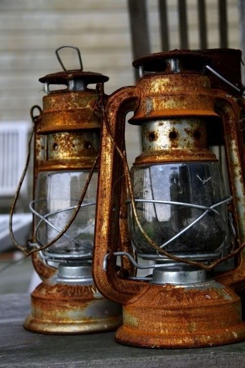 Rusty old railroad lanterns