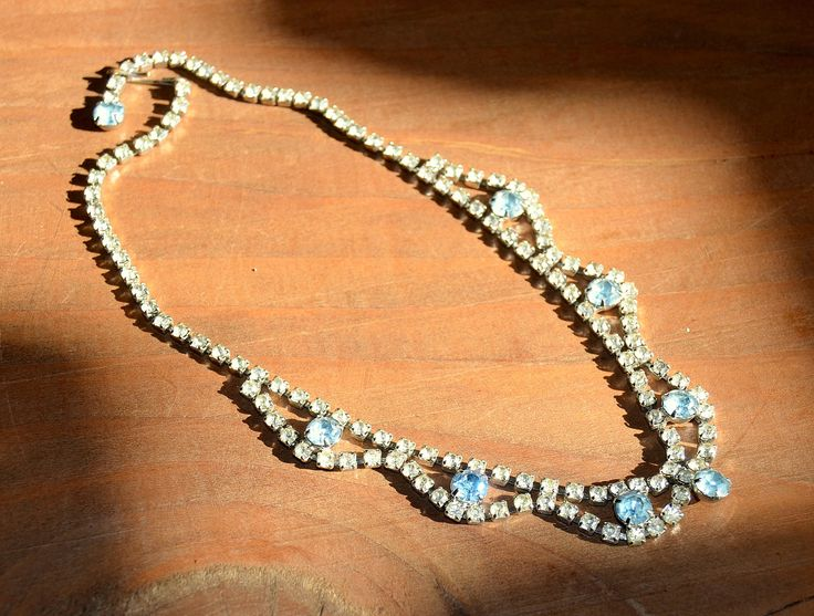1950s Rhinestones Necklace ~ Double Row Light Blue&Clear Crystals Choker ~ Hollywood Glam ~ Mid Century Jewelry~Wedding Bridal Jewelry by CatsAndHatsVintage on Etsy