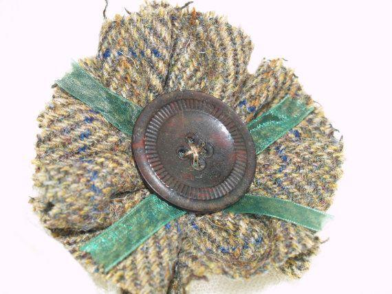Earthtone Overcheck Twill Harris Tweed Brooch by GoldenpennyCrafts