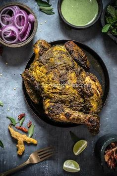south indian style whole roasted chicken.