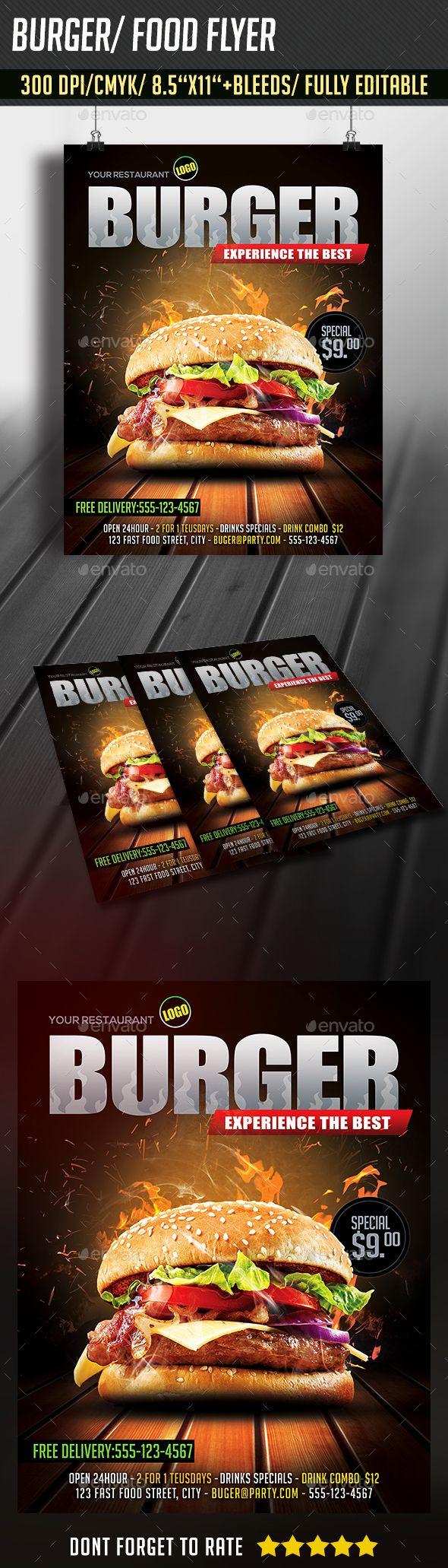 Burger / Food Flyer Template PSD #design Download: http://graphicriver.net/item/burger-food-flyer/14375460?ref=ksioks