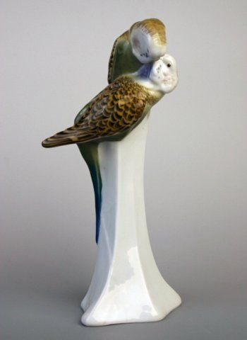 Meissen group of two budgerigars preening